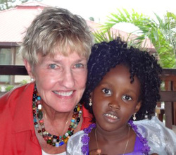 Deborah Lindholm with Deborah in Liberia