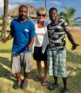 Deborah Lindholm with friends Raw and Rogers in Liberia
